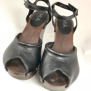 Mia Shoes - MIA Wedge Black Leather Studded Open Toe Sandals 8